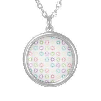 Colorful floral pattern silver plated necklace