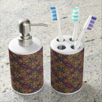Colorful Floral Pattern Soap Dispenser And Toothbrush Holder