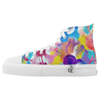 Colorful Floral Pattern with Anemone Flowers High Tops
