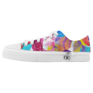 Colorful Floral Pattern with Anemone Flowers Low-Top Sneakers