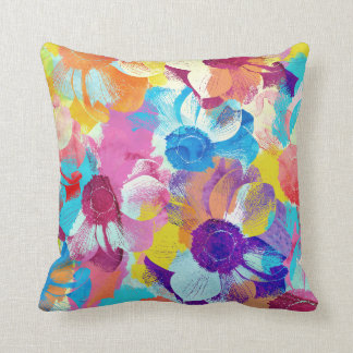 Colorful Floral Pattern with Anemone Flowers Throw Pillow