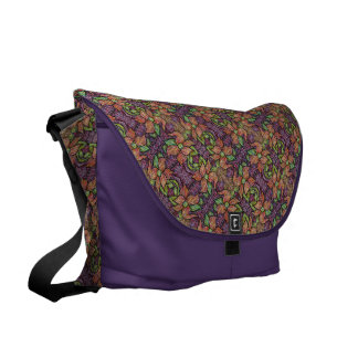 Colorful Floral Pattern With Purple Messenger Bag