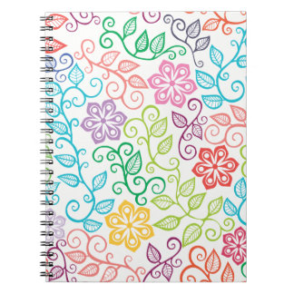 Colorful Floral Personalized Spiral Notebook