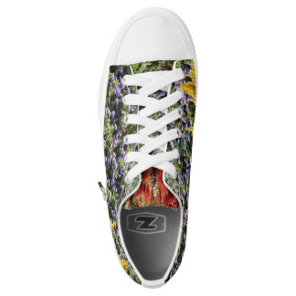 Colorful Floral Photo Custom Zipz Low Top Shoes