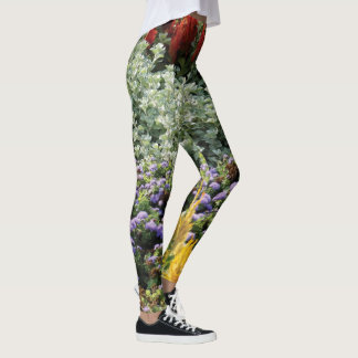 Colorful Floral Photo Leggings, M Leggings