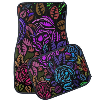 Colorful Floral Set of 4 Car Mats