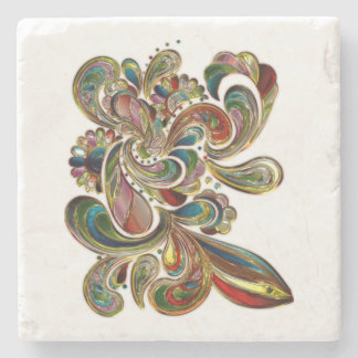 Colorful Floral Stained Glass Art Coaster Stone Coaster