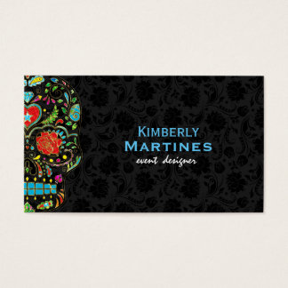 Colorful Floral Sugar Skull & Black Damasks Business Card