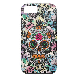 Colorful Floral Sugar Skull & Black Floral Swirls Case-Mate iPhone Case