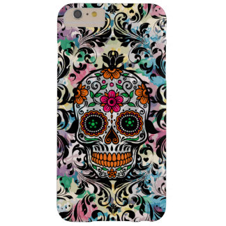 Colorful Floral Sugar Skull & Black Swirls Barely There iPhone 6 Plus Case