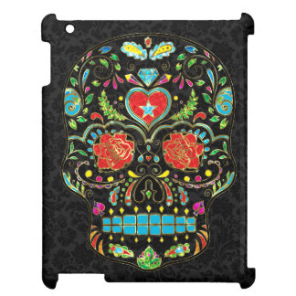 Colorful Floral Sugar Skull Glitter And Gold 2 Cover For The iPad 2 3 4