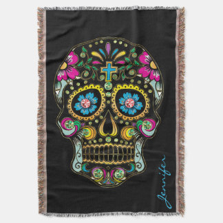 Colorful Floral Sugar Skull Glitter And Gold 2 Throw Blanket