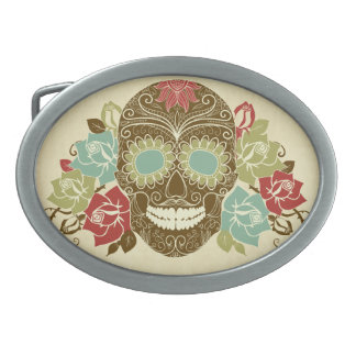 Colorful Floral Sugar Skull Oval Belt Buckle