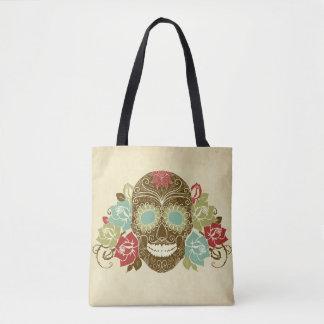 Colorful Floral Sugar Skull Tote Bag