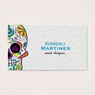 Colorful Floral Sugar Skull & White Damasks 2 Business Card