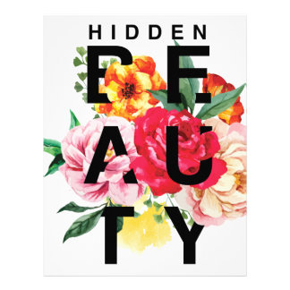 Colorful Floral Typography Hidden Beauty Letterhead