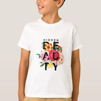 Colorful Floral Typography Hidden Beauty T-Shirt