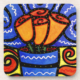 Colorful Floral Vase Coaster