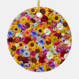 Colorful Floral Wallpaper Ceramic Ornament