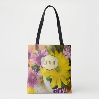Colorful Floral Watercolor Personalized Tote Bag