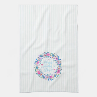 Colorful Floral Wreath Happy Mothers Day Kitchen Towel