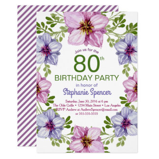 Colorful Floral Wreath Milestone Birthday Party Card