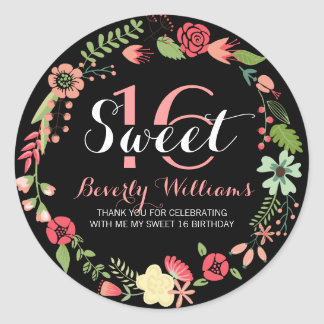 Colorful Floral Wreath On Black Sweet 16 Round Sticker