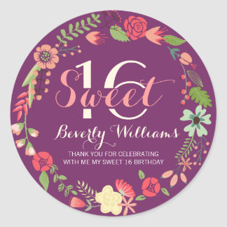 Colorful Floral Wreath On Purple Sweet 16 Round Sticker