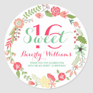 Colorful Floral Wreath On White Sweet 16 Classic Round Sticker