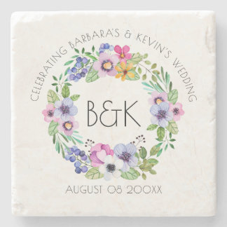 Colorful Floral Wreaths Wedding Template Stone Coaster