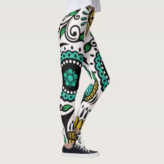 Colorful FloralSugar Skull Leggings