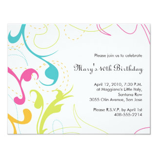 Colorful Flourishes Invitation - small white