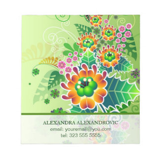 Colorful Flower Arraignment Illustration Template Notepad