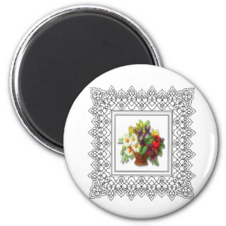 colorful flower basket 2 inch round magnet