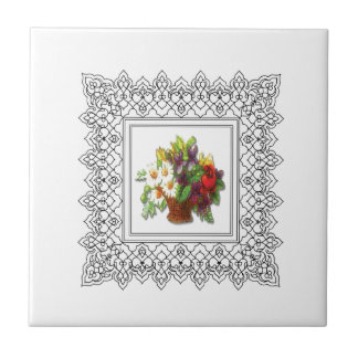 colorful flower basket ceramic tiles