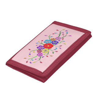 colorful flower bouquet trifold wallet