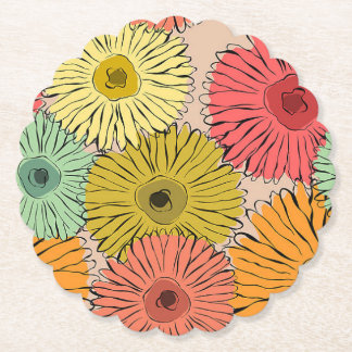 Colorful Flower Coozy Paper Coaster