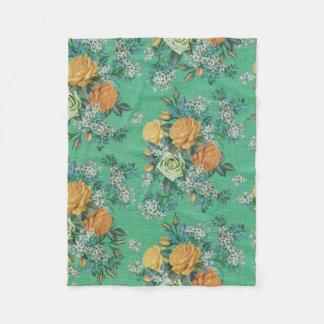 colorful flower decorative fleece blanket
