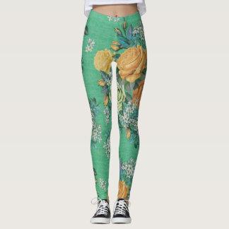 colorful flower decorative rose leggings