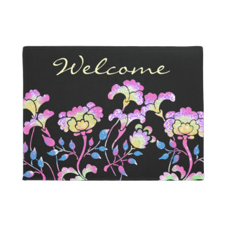 Colorful flower garden doormat