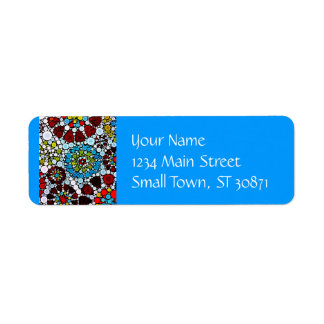 Colorful Flower Mosaic Circles Bubbles Design Return Address Label