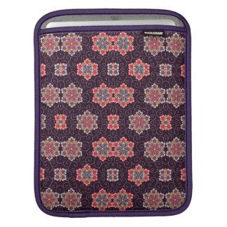 Colorful Flower Pattern on Dark Purple iPad Sleeve