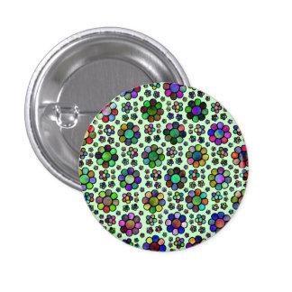 Colorful Flower Pattern Tie Dye 1 Inch Round Button