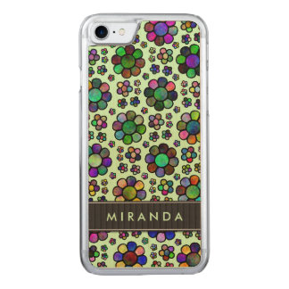Colorful Flower Pattern Tie-Dye Green Carved iPhone 7 Case