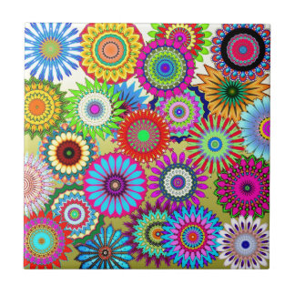 Colorful flower pattern tile
