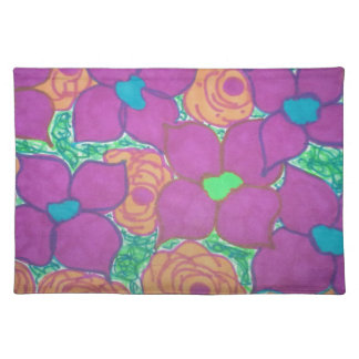 Colorful Flower Pattern Tropical Art Placemat