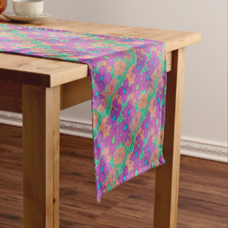 Colorful Flower Pattern Tropical Art Short Table Runner