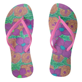 Colorful Flower Pattern Tropical Flip Flops
