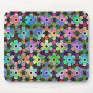 Colorful Flower Pinwheel Pattern Mouse Pad