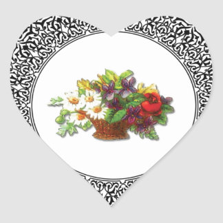 colorful flower pot heart sticker